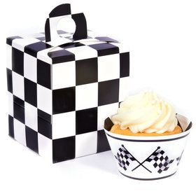 Black and White Checked Cupcake Wrapper Box Kit