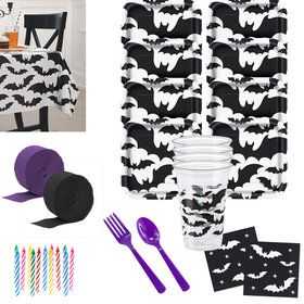 Black Bats Deluxe Tableware Kit (Serves 8)