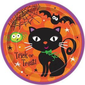 "Black Cat 7"" Cake Plates (8 Pack)"