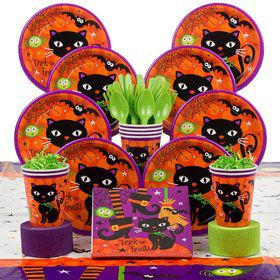 Black Cat Party Deluxe Tableware Kit Serves 8