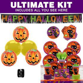 Black Cat Party Ultimate Tableware Kit Serves 8