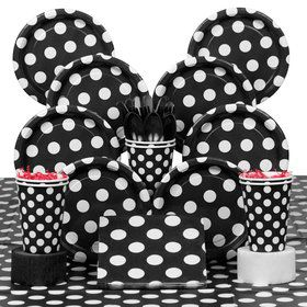 Black Dots Deluxe Tableware Kit Serves 8