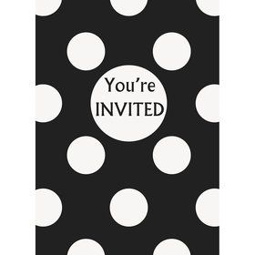 Black Dots Invitations (8 Pack)
