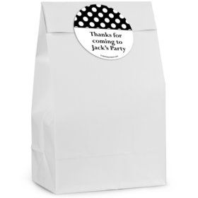 Black Dots Personalized Favor Bag (12 Pack)