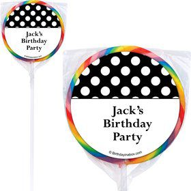Black Dots Personalized Lollipops (12 Pack)