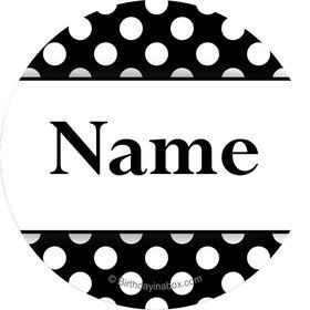 Black Dots Personalized Mini Stickers (Sheet of 20)