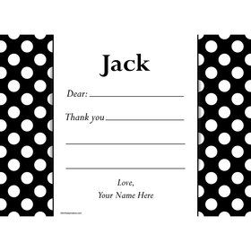 Black Dots Personalized Thank You Note (Each)