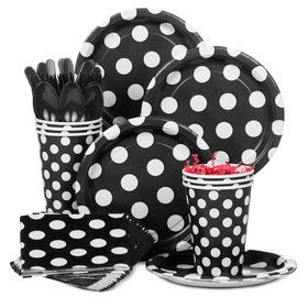 Black Dots Standard Tableware Kit Serves 8