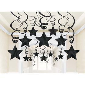 Black Foil Star Hanging Decorations (30 Count)