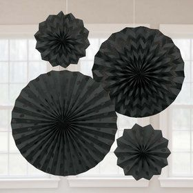Black Glitter Paper Fan Decorations (4 Pack)