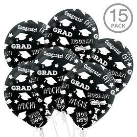 Black Graduation Latex Printed Balloons (15 Count)