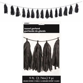 Black Green Tissue Tassel 9' Garland