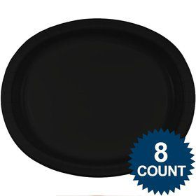 Black Heavy Duty Paper Oval Platter (8 Pack)