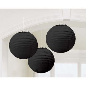 Black Paper Lantern Decorations (3 Count)