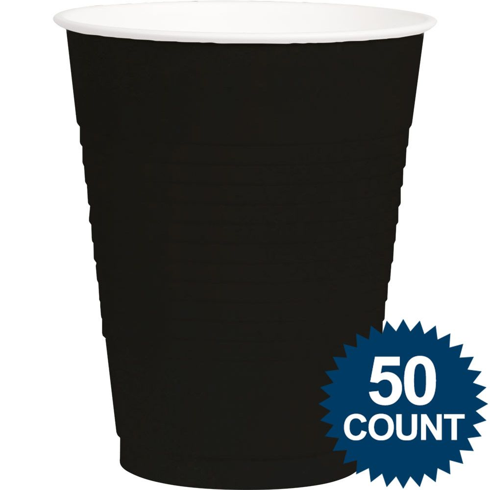 Black Plastic 16oz. Cup (50 Pack) - Party Supplies BB43680110
