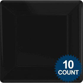 "Black Premium Plastic 10.75"" Square Dinner Plates 10ct"