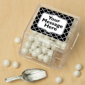 Black Quatrefoil Personalized Candy Bin with Candy Scoop (10 Count)