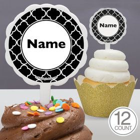 Black Quatrefoil Personalized Cupcake Picks (12 Count)