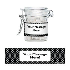 Black Quatrefoil Personalized Glass Apothecary Jars (10 Count)