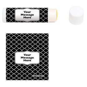 Black Quatrefoil Personalized Lip Balm (12 Pack)