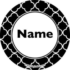 Black Quatrefoil Personalized Mini Stickers (Sheet of 24)