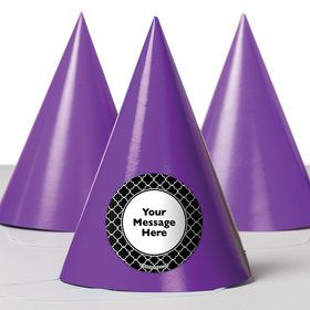 Black Quatrefoil Personalized Party Hats (8 Count)