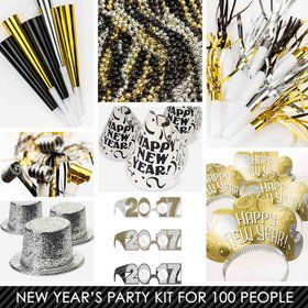 Black/Silver/Gold New Years Kit (For 100 Guests)