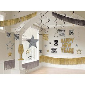 Black, Silver & Gold New Year's Room Set