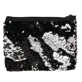 Black Silver Sequin Pouch