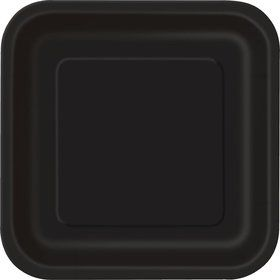 "Black Square 7"" Cake Plates (16 Pack)"