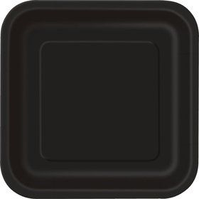 "Black Square 9"" Luncheon Plates (14 Pack)"