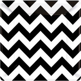 "Black & White Chevron 7"" Cake Plates (18 Pack)"