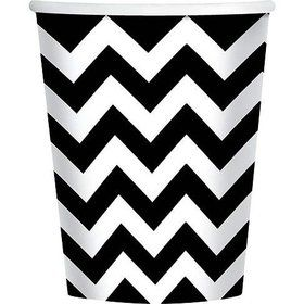 Black & White Chevron 9oz Cups (18 Pack)
