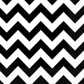 Black & White Chevron Beverage Napkins (36 Pack)