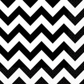 Black & White Chevron Luncheon Napkins (36 Pack)