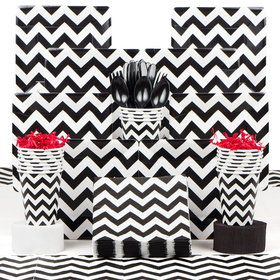 Black & White Chevron Party Deluxe Tableware Kit Serves 18