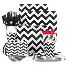 Black & White Chevron Party Standard Tableware Kit Serves 18