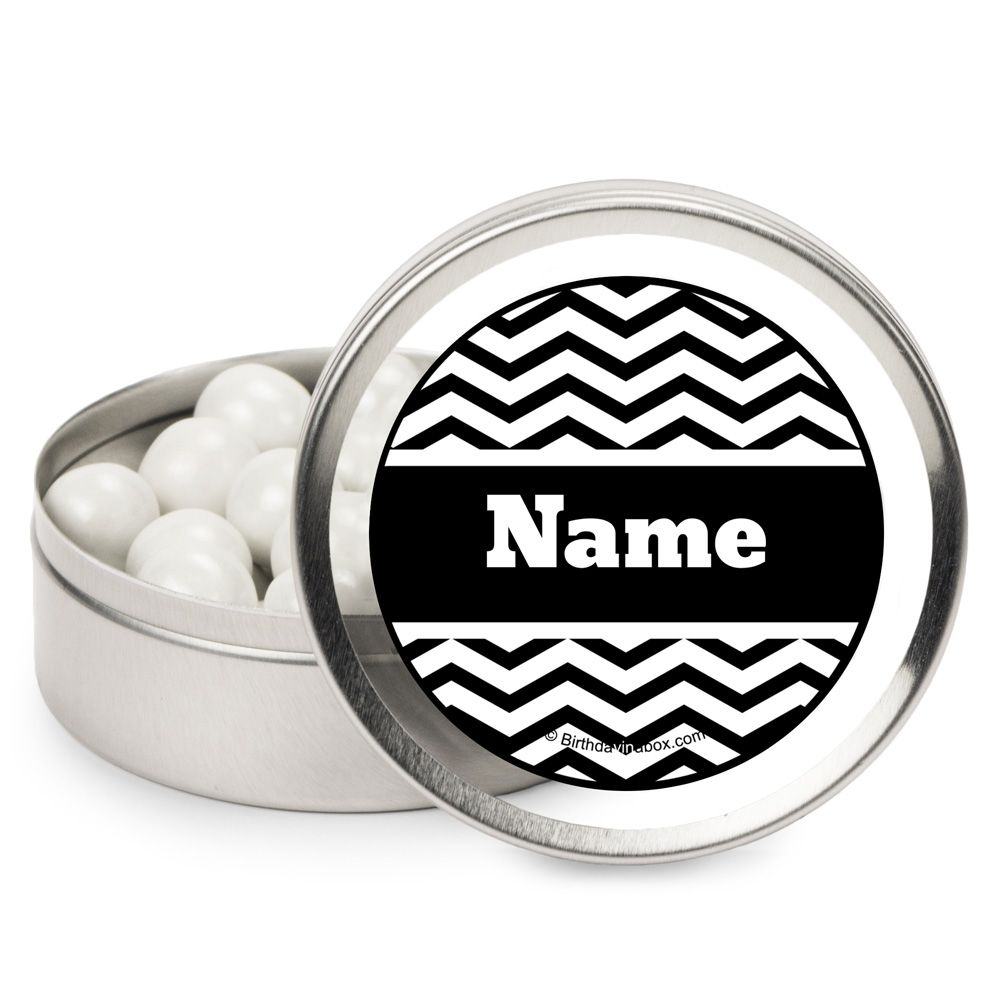 Black/White Chevron Personalized Candy Tins (12 Pack) - Party Supplies BB1403MT