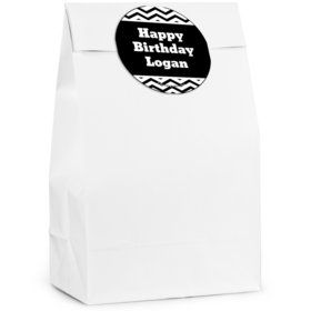 Black/White Chevron Personalized Favor Bag (12 Pack)