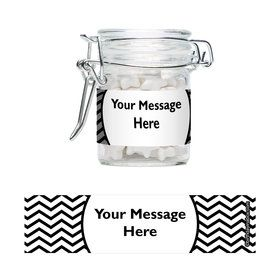 Black/White Chevron Personalized Glass Apothecary Jars (10 Count)