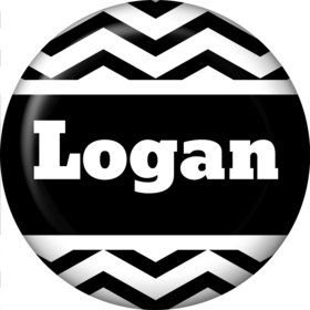 Black/White Chevron Personalized Mini Button (Each)