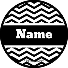 Black/White Chevron Personalized Mini Stickers (Sheet of 24)