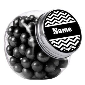 Black/White Chevron Personalized Plain Glass Jars (12 Count)