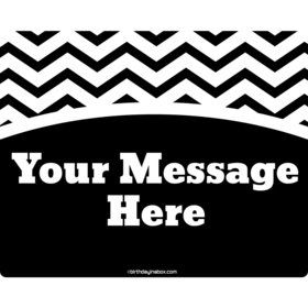 Black/White Chevron Personalized Rectangular Stickers (Sheet of 15)