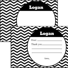 Black/White Chevron Personalized Thank You Note (Each)
