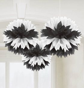 Black White Fluffy Decorations