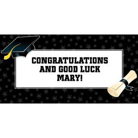 "Black/White Graduation Personalized Giant Banner 60X3"" (Each)"