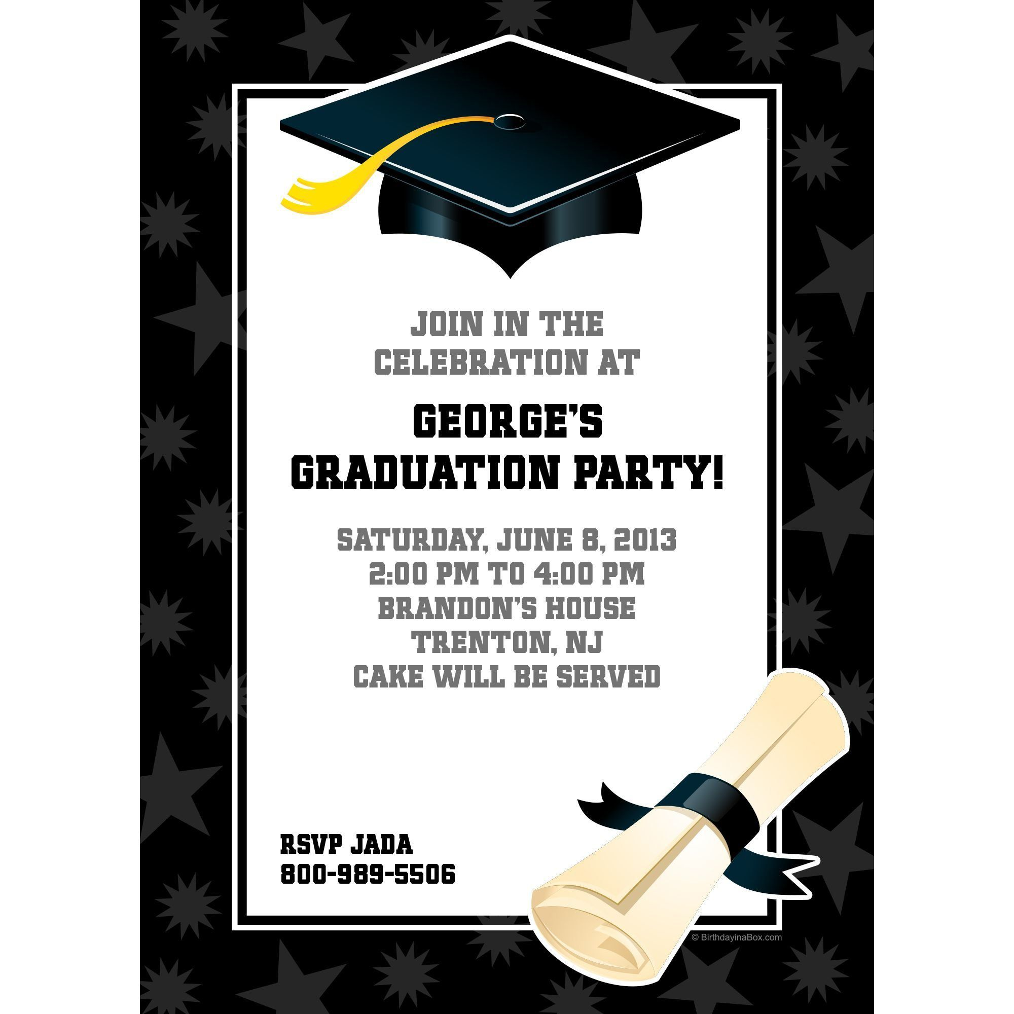 Black & White Graduation Invitation - Party Supplies