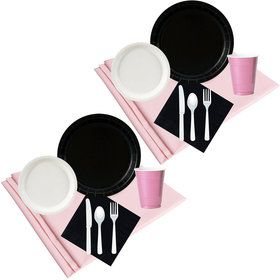 Black White Pink Party Pack (48)