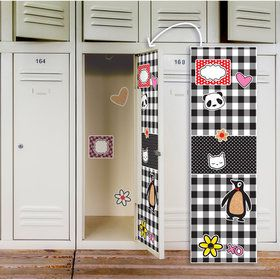 Black White Plaid Locker Decal